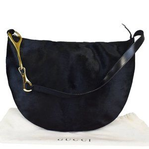 GUCCI G Chain Hobo Shoulder Bag Calf Skin Leather
